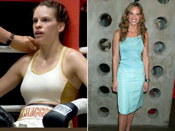 Hilary Swank A Millió dolláros bébi (2004.) szerepének kedvéért 6 kg-t hízott. A módszere az volt, hogy amikor úgy érezte, már tele van, evett tovább.