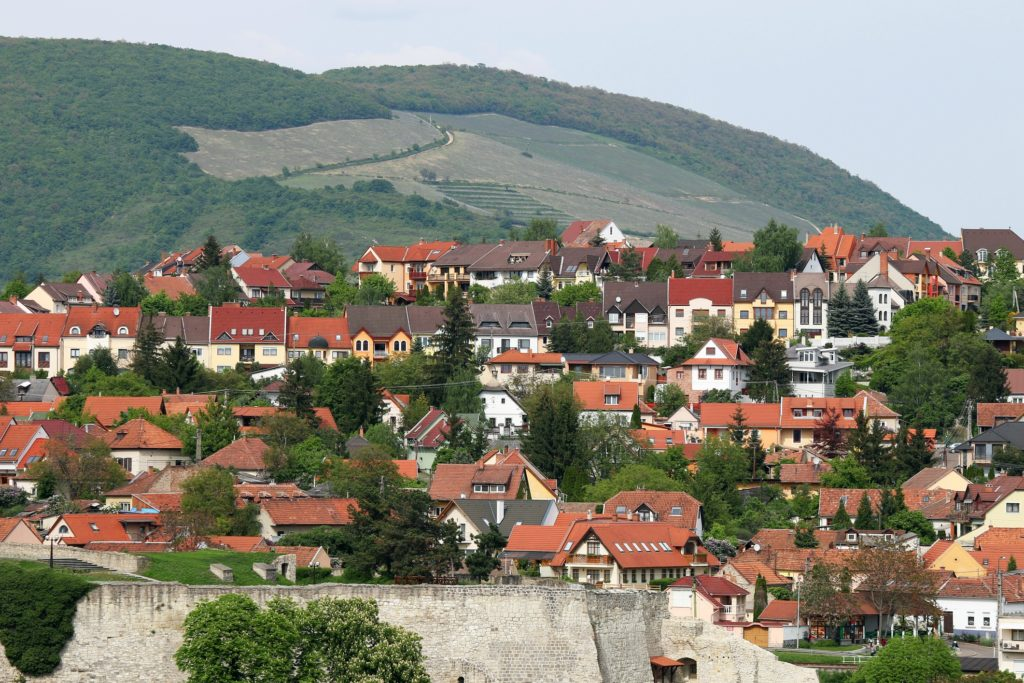 houses on the hill above Eger Hungary