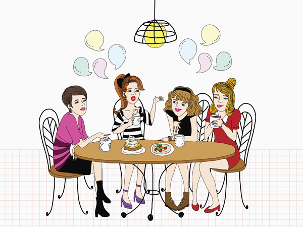 An illustration of girls having coffee