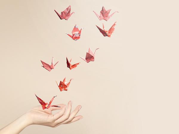 crane, swan, paper, red, japanese paper, decoration, craft, arts, studio