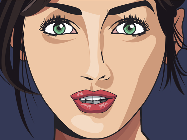 beauty girl face lipstick green eyes blue background vector illustration eps 10
