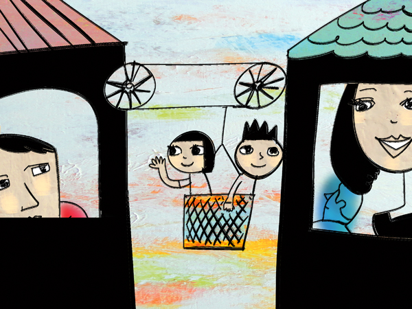 A boy and girl in a basket that is connected to two buildings