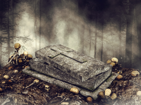 Dark scene with an open coffin surrounded by skulls and bones in the woods. 3D render.