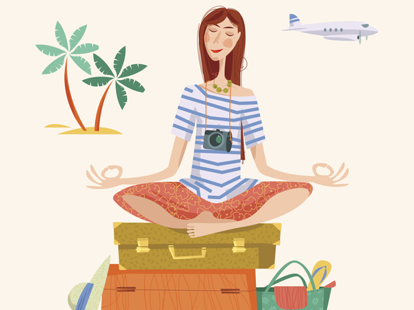 Young woman sits on a stack of suitcases in a yoga lotus pose and meditates. Travel concept. Vector illustration