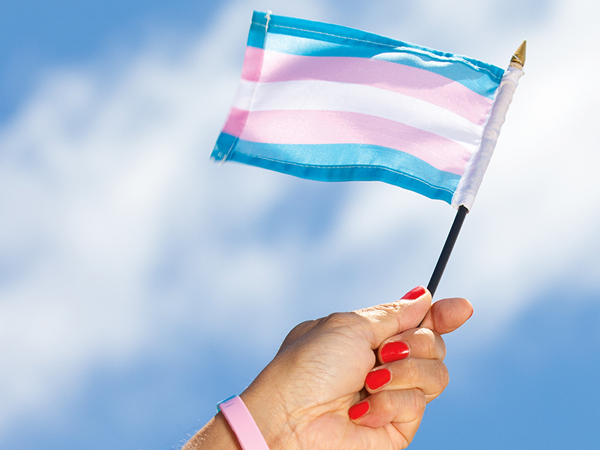 Arm with hand holding Transgender pride flag. Nails painted red wearing a pink blue white pride wristband.