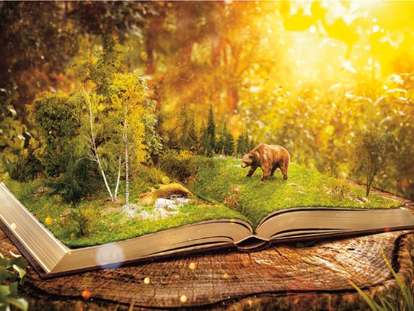Opened book with wild forest and bear on pages. Endangered-species list. Unusual 3D illustration