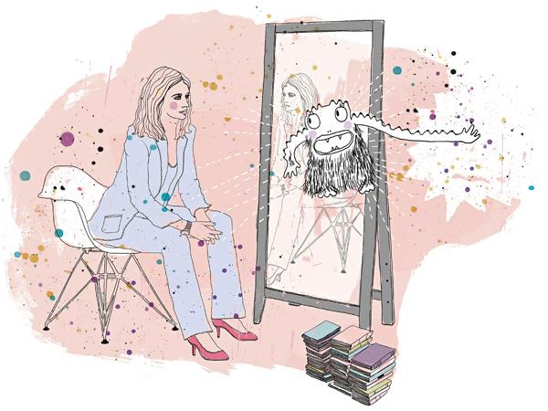 3.558 MB, 301 dpi, 196 x 280 mm, Frau sitzt vor einem Spiegel aus dem ein Monster springt, Zeichung. Spiegelbild, Innere Konflikte, Konflikt, Konfliktbewältigung, Konfliktbewaeltigung, Gelassenheitstraining, Gelassenheit, Training, Symbol, Symbolik | symbolisch | People | Mensch, Person | Frau | innen, drinnen | Illustration, Illu | Blick seitlich | seitlich, von der Seite / es gelten unsere AGB, Nutzung nur gegen Honorar - Höhe nach Vereinbarung, Jalag-Syndication.de Tel.+49 (0)40 2717-2021 oder -2023.
