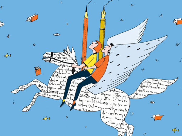 two authors riding a winged horse made of words